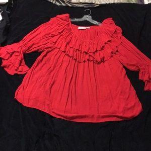 Red Vintage peasant blouse